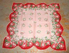 Vintage Handkerchief Floral Roses Pink Ladies Hanky by TheBackShak