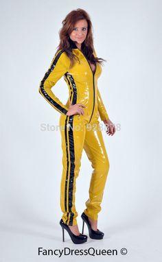 Aliexpress.com: Acheter Jaune Kill Bill Costume PVC Lycra Zentai Catsuit déguisements outfit, Taille XS / S / M / L / XL / XXL de armée robe fiable fournisseurs sur Online Store 928878