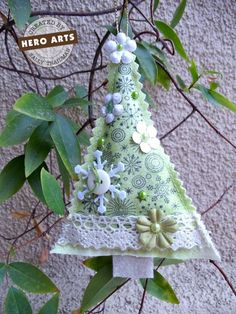 Christmas tree with button embellishments