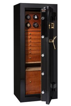 Peek inside Casoro's Onyx black safe with exotic wood chest and watch winders for your watch collection. Customize your luxury safe today!