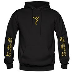 ITF Taekwondo Black Hoodie, custom printed with flex vinyl. Taekwondo wording and symbols on sleeves, ITF Tree on the back, Kicking Man logo on the front. Best Martial Arts, Martial Arts Styles, Martial Arts Techniques, Mixed Martial Arts, Kick Boxing, Boxing Workout, Taekwondo Tattoo, Krav Maga Kids, Krav Maga Self Defense