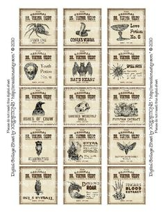Antique Potion Labels - 2x2in/50mm squares digital collage sheet. $4 ...