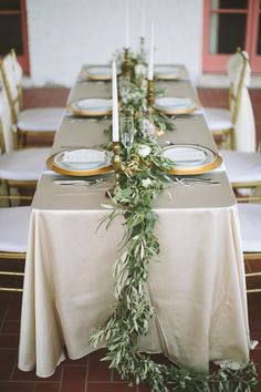 grecian inspired wedding table setting with olive leaf runner - brides of adelaide Wedding Tablecloths, Wedding Table Linens, Wedding Table Decorations, Wedding Table Settings, Round Wedding Tables, Simple Table Decorations, Wedding Table Covers, Place Settings, Wedding Table Arrangements