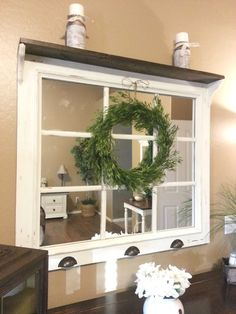 Just Add Some Java: DIY Window Pane Mirror I like how this one has a little shelf on top