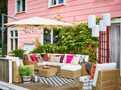 Enjoy your outdoor area to the maximum with an IKEA SOLLERÖN brown outdoor corner sofa, armchair and footstool with cushions in Kungsö white - and let the good times roll! Get inspired by more outdoor roomsets and solutions at the IKEA Rooms gallery. Patio Furniture For Sale, Wicker Patio Furniture, Outdoor Furniture Sets, Better Homes And Gardens, Patio Chair Cushions, Patio Chairs, Patio Tables, Ikea, Small Patio