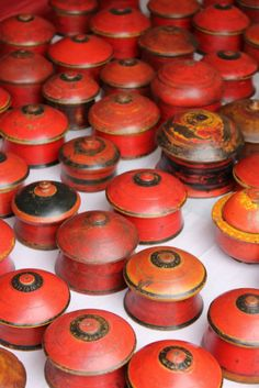 Vintage Lacquered Red and Orange Boxes