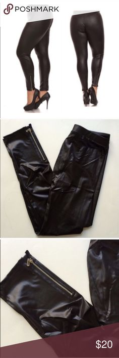"""Faux leather leggings Faux leather/ shiny leggings. Size is marked as XL, but these will fit XL-2x (I am a 2x/16/18 and this fits perfectly). I do not recommend these for a size above 18. Inseam: 29"""" • Rise: 10"""" • Waistband: 28"""" unstretched. 36"""" comfortably stretched. 90% polyester/ 10% spandex. Very stretchy!!  Availability: 1 ⭐️This item is brand new in original packaging  💲Price is firm unless bundled ✅Bundle offers Pants Leggings"""