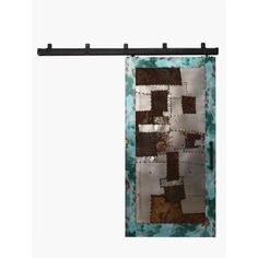 In category of so weird I must post - Not suggesting we install  Rustica Hardware 42 in. x 84 in. Steampunk Aqua Metal Barn Door with Box Rail Sliding Door Hardware Kit
