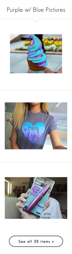 """Purple w/ Blue Pictures"" by blonde-scorpio-xo ❤ liked on Polyvore featuring pictures, pics, food, photos, tops, t-shirts, shirts, one direction, images and ombre shirt"