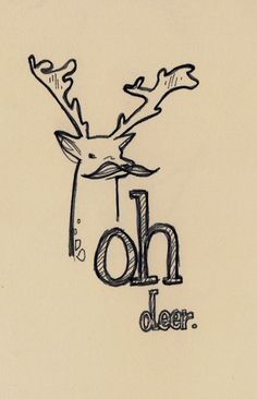 art, deer, doodles, drawing, mustache
