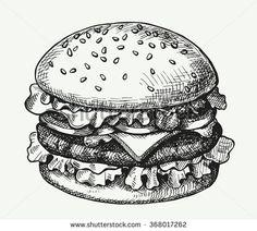 Hand drawn illustration of hamburger.
