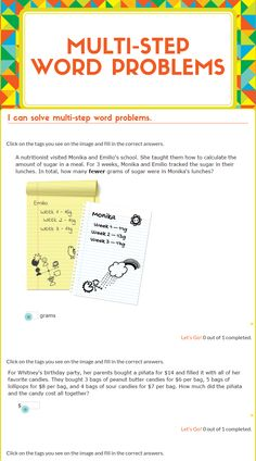 "Wizer.Me​ blended worksheet ""Multi-Step Word Problems"" ."