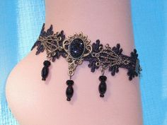 Black Lace Anklet  Especially Eye Catching by SandiesGiftCorner