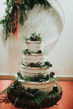 48 Luxury Winter Wedding Cakes Ideas That You Will Totally Love - Many couples want to have their wedding in winter-when holiday season is in the air and when the snow and cold weather make everything more romantic. Wedding Forrest, Our Wedding, Dream Wedding, Wedding Ideas, Winter Themed Wedding, Indoor Wedding, Wedding Reception, Christmas Wedding Themes, Pinecone Wedding Decorations