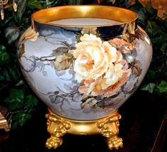 Limoges Fabulous and Unique Blue Inspired Jardiniere with Yellow Roses Decorated with Raised Scrolling and Accompanied by Gold Encrusted Plinth/Base
