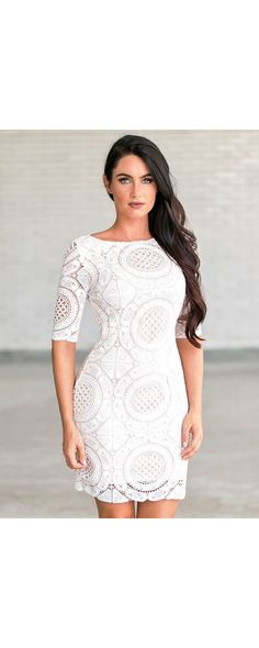 You'll fall in love with this medallion crochet lace dress! The Rounded Out Three Quarter Sleeve Crochet Lace Dress is fully lined with a contrasting nude liner. The sleeves are semi-sheer lace. Crochet Dress Outfits, Crochet Lace Dress, Summer Dress Outfits, Dress Summer, Cute Dresses, Beautiful Dresses, Casual Dresses, Tight Lace Dress, Dress Lace