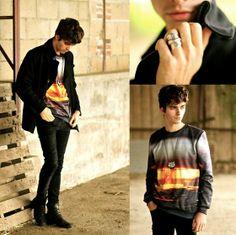 Mr Gu Gu & Miss Go Sweater, Boss Orange Pea Coat, Black Skinny Jeans, Black Leather Boots, Maison Martin Margiela Spoon Ring