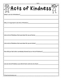 Act of Kindness Worksheet