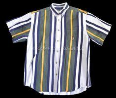 COLISEUM Vintage Jeans Blue/White/Green-Stripe Short-Sleeve Cotton Shirt Size-M #ColiseumJeans #ButtonFront