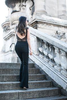 Passionate Lace :: Flare pants & Lace bodysuit :: Outfit ::  Top :: I.D. Sarrieri bodysuit Bottom :: Goldsign Bag :: Celine Shoes :: Henri Lepore Dezert Accessories :: Karen Walker sunglasses Published: October 7, 2015