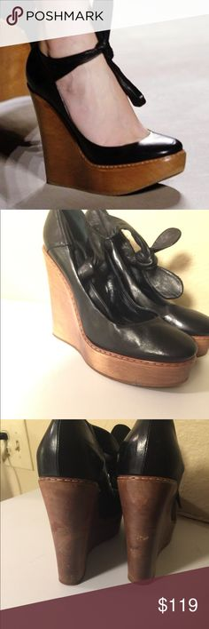 """Chloe Black Leather Wooden Wedge Retail $670.00. Very comfortable. Real Italian leather. Man made soles 4.25"""" heels 1.25"""" platforms Around a U.S. Size 8 Chloe Shoes Wedges"""