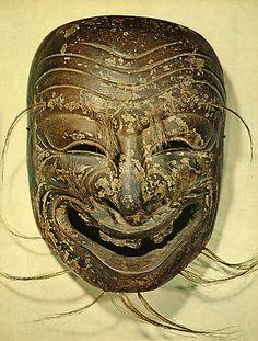 A mask of Japanese Bugaku. Mask Face Paint, Heian Era, Japanese Mask, Vintage Mannequin, East Of Eden, Body Figure, Art Japonais, Beautiful Mask, Mystique