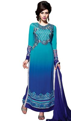 Daunt elegantly at the drop of a hat with this blue color shade embroidered georgette long churidar suit. Beautified with lace and resham work. #georgettesalwarkameezdress #lateststraightchuridarsuit #pakistanisalwardresses