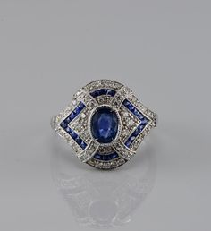 Spectacular platinum Art Deco natural sapphire and diamond rare ring by hawkantiques on Etsy https://www.etsy.com/listing/246125537/spectacular-platinum-art-deco-natural