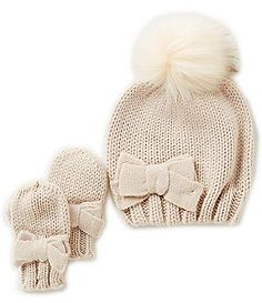 Starting Out Baby Girls Pom Detailed Beanie & Mittens Set - April 20 2019 at Little Girl Outfits, Little Girl Fashion, Kids Outfits, Kids Fashion, Toddler Fashion, Toddler Outfits, Baby Kids Clothes, Kids Clothing, Stylish Baby