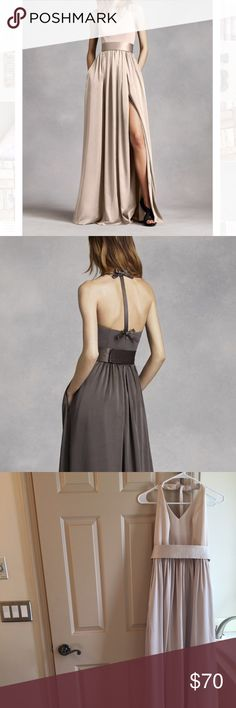 Vera Wang bridesmaids dress Champagne colored Vera Wang bridesmaids dress from David's Bridal. Beautiful v-neck halter gown with matte crepe bodice featuring bow on the back. Long, soft charmeuse skirt with satin finish and middle slit. Includes satin belt. Size 2 David's Bridal Dresses Wedding