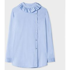 Paul Smith Women's Blue Asymmetric-Button Shirt With Frill Collar ($190) ❤ liked on Polyvore featuring tops, banded collar shirts, flutter-sleeve top, patterned shirts, ruffle shirt and stretch cotton shirt