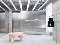 Acne Studios Latest Store in Munich Germany. Acne Studios continues its smoking-hot retail store initi Bar Interior, Studio Interior, Retail Interior, Interior Design, Bespoke Furniture, Design Furniture, Terrazzo, Visual Merchandising, Led Light Fixtures