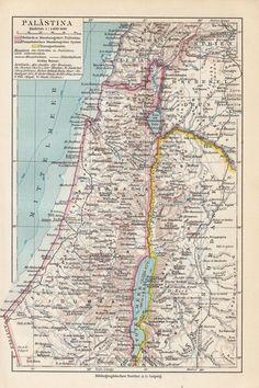 1928 Historische Landkarte * Palästina / Palestine Israel Genezareth Totes Meer