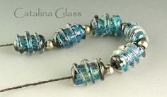 Glass Beads Lampwork SRA Silver Sparks Spirals  by catalinaglass, $30.00