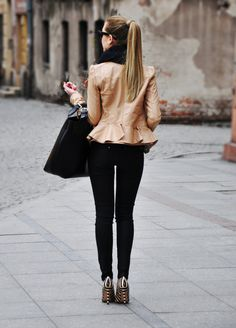 #Brown #Leather #Peplum #Jacket #Style #Fashion #Women
