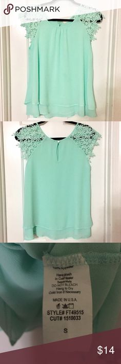 JELLA COUTURE Sheer Chiffon Lace Blouse SZ Small This JELLA COUTURE Sheer & Lace Blouse Top is NWOT. (New without tags) Never worn. Beautiful mint pale green color. Buttons up at the back neck. Flowy and seriously gorgeous! Size Small - S. Jella Couture Tops Blouses