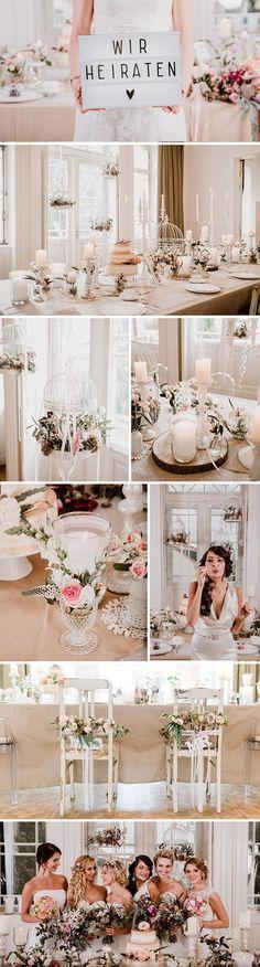 Bei der Vintage Hochzeitsdekoration wird der Tisch reichlich mit romantischen Kerzen geschmückt. Das besondere Extra sind die Vogelkäfige mit Blumenpracht. I © Andreas Nusch Hochzeitsfotografie