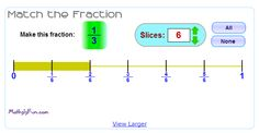 """In """"Match the Fraction"""" students match the fraction to its place on the number line. #ccss 3.NF.A.1, 3.NF.A.2, 3.NF.A.2a, 3.NF.A.2b"""