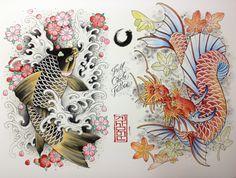 Koi and Dragon Koi by Henry S. Gae