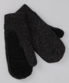 Charcoal & Black Wool Mittens by Fownes Brothers & Co., Inc.
