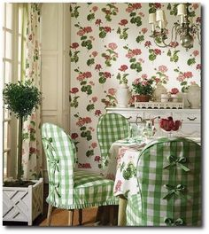 Thibaut. Adorable green gingham slipcovers.