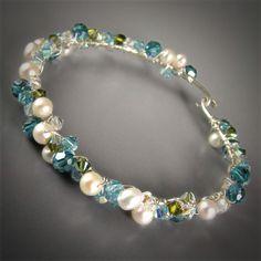 Tutorial for Scatter Bracelet DIY Sparkling Swarovski and Pearl with Sterling Silver Bangle   Bracken Designs Studio Art Jewelry