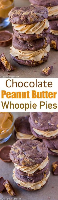Chocolate Peanut Butter Whoopie Pies 40 mins to make, makes 12 pies