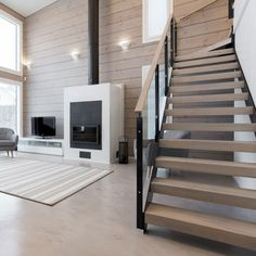 Living Spaces, Living Room, House Stairs, Building A House, Sweet Home, Minimalist, Cottage, Indoor, Dining