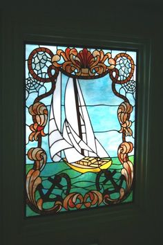 stained glass houses | Antique stained glass sailboat window