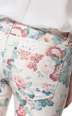 5 POCKET FLORAL PRINT TROUSERS