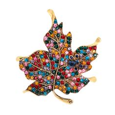 Promo Offer Exquisite Colorful Rhinestone Maple Leaf Cute Bee Brooch Pin Gift for Ladies hijab scarf c