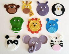 Ähnliche Artikel wie Fondant Jungle Animal Cupcake Toppers, Safari Cupcake Toppers, Zoo Cupcake Toppers, Noah's Ark Cupcake Toppers, Wild Animal Cupcake Toppers auf Etsy