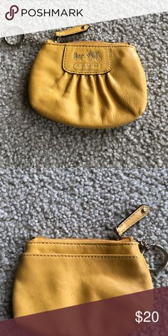 Authentic Yellow Gold Coach Coin Purse Yellow Gold Coach Coin Purse Coach Bags Mini Bags