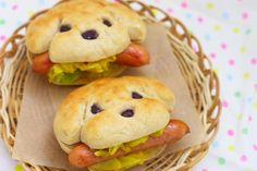 Hot Dogs....cute idea for kids party
